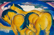 Modernism Framed Prints - Little Yellow Horses Framed Print by Franz Marc