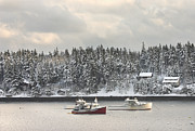 Lobster Boats After Snowstorm In Tenants Harbor Maine Print by Keith Webber Jr