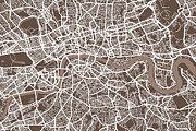 Landmarks Digital Art Metal Prints - London England Street Map Metal Print by Michael Tompsett