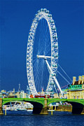 London Scenes Prints - London Eye Westminster Bridge Print by David French
