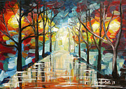Trees Reflecting In Water Painting Posters - Lonely Alley Poster by Denisa Laura Doltu