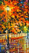 Autumn Landscape Painting Framed Prints - Lonely Bicycle  Framed Print by Leonid Afremov