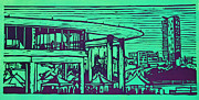 Linocut Prints - Long Center Print by William Cauthern