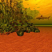 Shark Digital Art Prints - Lookout Below Print by Corey Ford