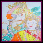 Lord Drawings Metal Prints - Lord Krishna and Radha Metal Print by Richa Sharma