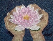Religious Mosaic Mixed Media Prints - Lotus Flower Print by Liza Wheeler