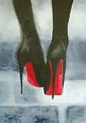 Fashion Abstract Paintings - Louboutin At Midnight by Rebecca Jenkins