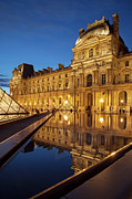 Glass Reflecting Metal Prints - Louvre Reflections Metal Print by Brian Jannsen