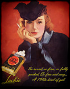 Cigarette Mixed Media Posters - Luckie Poster by Chuck Staley