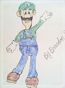 Super Mario Prints - Luigi Print by Michael Barton