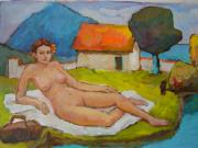 Odalisque Posters - Lying nude women Poster by Alfons Niex