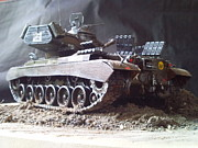 Military Sculptures - M40 Patton tank by Richard John Holden