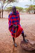 Maasai Man Portrait In Tanzania Print by Michal Bednarek