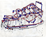 Mouse Drawings - Mad Mouse roller coaster by Ethan Altshuler