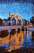 Holland Art - Magere Brug bridge in Amsterdam by George Atsametakis