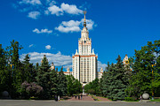 Msu Prints - Main Building Of Moscow State University On Sparrow Hills Print by Alexander Senin