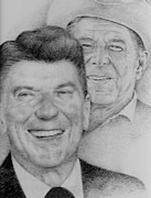 Ronald Reagan Drawings Prints - Man of the People Print by Richard Johns