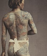 Parlor Framed Prints - Man with traditional Japanese Irezumi tattoo Framed Print by Japanese Photographer