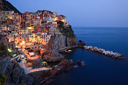 Mediterranean Landscape Posters - Manarola at night in the Cinque Terre Italy Poster by Matteo Colombo