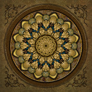 Olive Green Mixed Media Posters - Mandala Earth Shell Poster by Bedros Awak