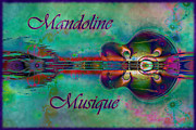 Opus Digital Art Posters - Mandoline Musique Poster by Kiki Art