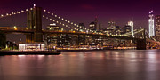 Big Red One Prints - Manhattan by Night Print by Melanie Viola