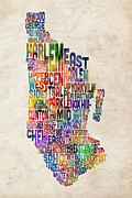 Watercolor Digital Art Posters - Manhattan New York Typographic Map Poster by Michael Tompsett