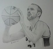 Basket Ball Drawings - Manu Ginobili by Don Cartier