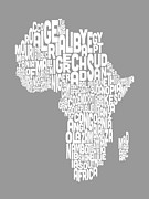 Map Of Africa Posters - Map of Africa Map Text Art Poster by Michael Tompsett
