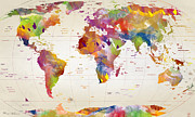 Work Of Art Digital Art Posters - Map Of The World Poster by Mark Ashkenazi