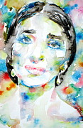 Soprano Framed Prints - MARIA CALLAS - watercolor portrait Framed Print by Fabrizio Cassetta