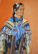 Indian Wedding Paintings - Mariah Rainer pow wow dancer by George Chacon