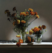 Larry Preston Prints - Marigolds  Print by Larry Preston