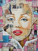 Marilyn Monroe Mixed Media - Marilyn in Pink and Blue by Joseph Sonday