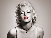 Black-and-white Digital Art Metal Prints - Marilyn Monroe Metal Print by Brigitta Frisch