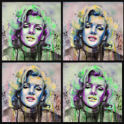 Portraits Tapestries Textiles Metal Prints - Marilyn Monroe Metal Print by Slaveika Aladjova