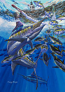 Black Marlin Framed Prints - Marlin El Morro Framed Print by Carey Chen