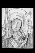 Virgin Mary Drawings Prints - Mary With Rose Print by Patricia Saunders