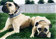 Puppy Mixed Media - 2 Mastiffs by Christine Winship
