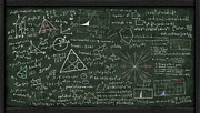 School Science Posters - Maths Formula On Chalkboard Poster by Setsiri Silapasuwanchai