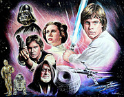 Famous Faces Drawings Prints - May the force be with you Print by Andrew Read