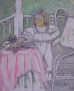 Tea Pot Drawings Prints - McKennas Tea Party Print by Linda Simon