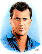 Movie Star Drawings Framed Prints - Mel Gibson Framed Print by Andrew Read