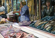 Jerusalem Paintings - Men of the Desert Gifts of the Sea Jerusalem by Gaye Elise Beda