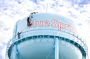 2 Men Painting The Blue Springs Water Tower  Print by Andee Photography