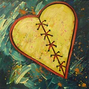 Heart Broken Prints - Mended Broken Heart of Gold Print by Carol Suzanne Niebuhr