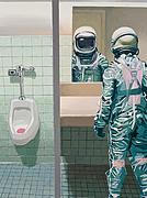 Science Fiction Glass Framed Prints - Mens Room Framed Print by Scott Listfield