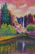 Yosemite Painting Framed Prints - Merced River Reflections Framed Print by Eve  Wheeler