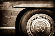 Mercedes Benz. Metal Prints - Mercedes-Benz Wheel Emblem Metal Print by Jill Reger