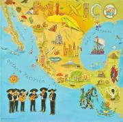 Map Of The World Painting Posters - Mexico Poster by Virginia Ann Hemingson